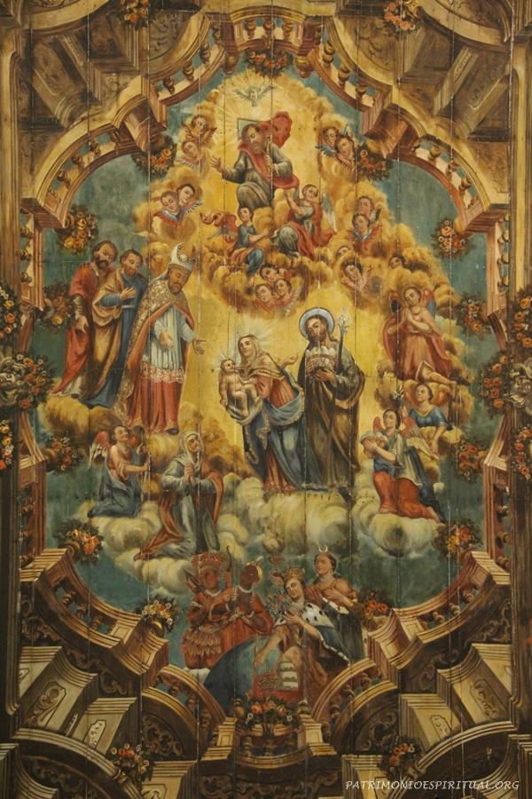 Pintura em perspectiva, no forro da igreja, representando a apresentação de Jesus no Templo