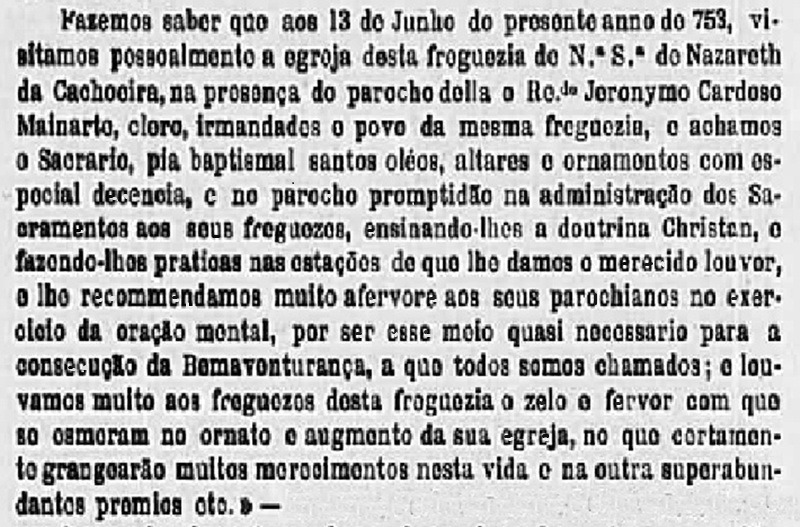 Parecer do 1º bispo de Mariana, Dom Frei Manuel da Cruz, após visita em Cachoeira do Campo, no ano de 1753
