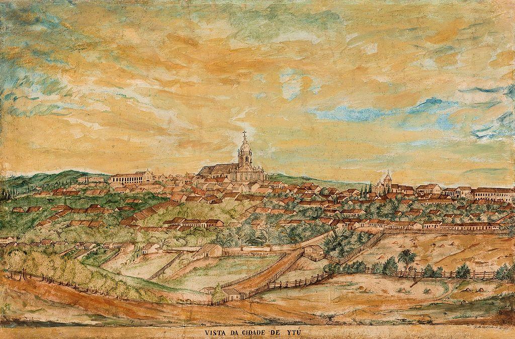 Vista da cidade de Itu na primeira metade do século XIX, em gravura de Miguelzinho Dutra
